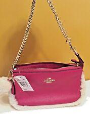 Coach F64705 Shearling Pom Pom Shoulder Handbag Cranberry New w Tag  Retail $165
