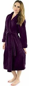 Women Fleece Bath Robe Plush Shawl Collar Spa Robe Soft Fluffy NY Threads