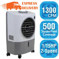 1300 CFM 2-Speed Portable Evaporative Swamp Cooler For 500 sq ft Outdoor Compact