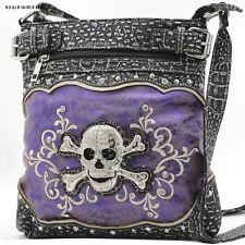604 NW47J- PURPLE SKULL  Bags Western Rhinestone Hipster Cross Body Style Purse