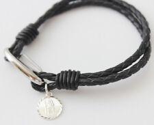 Ladies 925 Silver Saint Christopher Black Leather Bracelet Engraving Included