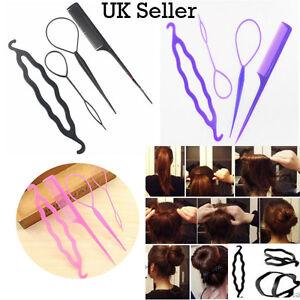 4 Pcs Set - Hair Bun Maker Hair Clip Twist Braid Ponytail Comb Stylish Tool Accs