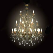 Large black Wrought Iron chandelier light Big Crystal chandeliers for lobby hall
