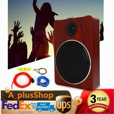 Wooden 8'' Under-Seat Car Subwoofer Speaker Active Stereo Bass Audio Powered Amp
