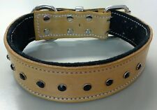 Large Blonde & Black Leather Collar - Suede Padded Lining & Black Crystals