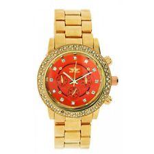 Softech Rose Gold with Orange Face Diamante Bracelet Analog Wrist Watch Quartz