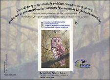 CANADA 2012  YOUTH WILDLIFE DUCK STAMP  OWL These were only issued 2010-2013