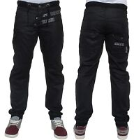MENS DENIM JEANS EZ317 CUFFED JOGGERS IN BLACK COATED DESIGNER BRANDED 28 TO 42