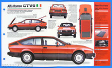 Alfa Romeo GTV6 1981-1987 Italy Spec Sheet Brochure IMP Hot Cars Group 1 #58