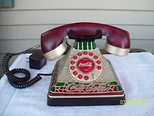 Vintage Stained Glass Look Coca Cola Coke Desk Phone Telephone Lights Up ~ Nice!