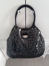 FRENCH CONNECTION LARGE BLACK PATENT FAUX LEATHER BAG, BRAND NEW