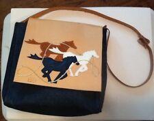 Vintage Texas Western Blue Denim~Leather Messenger Bag w/2 looks~Solid or Horses