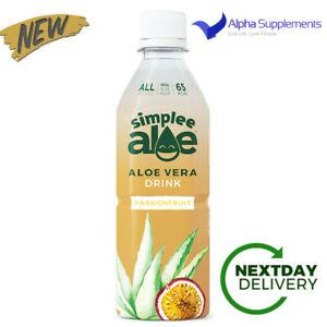 Simplee Aloe Vera Natural Organic Pulp Drink 12x500ml - Passionfruit   LOW SUGAR