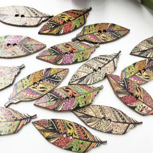 50PCs Wooden 42*15mm Sewing Buttons Scrapbooking Indian feather 2Holes WB616