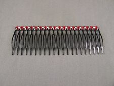 """Red faceted crystal Black metal 4.25"""" long hair accessory side clip comb"""