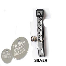 REFLECTIVE CAT COLLAR & BELL, PET ID TAG ENGRAVED BOTH SIDES FREE, ( 20mm Tags )