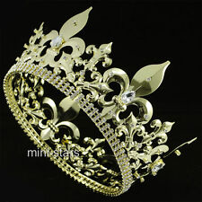 "Men's Imperial Medieval Fleur De Lis 4.25"" Full Circle Gold King Crown AT1716"