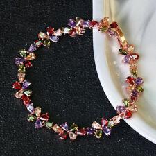 Wedding Flower Style Genuine Garnet Amethyst Rose Gold Woman Charming Bracelets