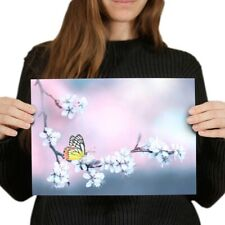 A4 - Butterfly Cherry Blossom Pink Poster 29.7X21cm280gsm #2629