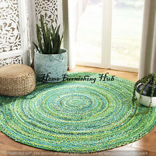 Round-7 Ft Natural Cotton Braided Home Handmade Mat Reversible Dhurrie Rag Rugs