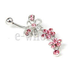 Pink Gems Butterfly with Dangling Flower Belly Bar Navel Ring 52x18mm JW527 CG