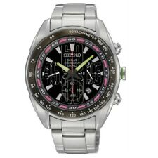 Seiko Criteria SSC045 P1 Silver Black Dial Solar Men's Chronograph Sports Watch