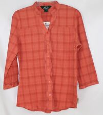NWT Woolrich Women's Small Stretch Coral LS Crinkle Ruffle Button Front Blouse