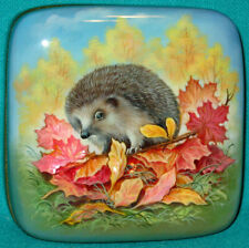 "WONDERFUL! ""Hedgehog"" Russian Hand Painted Fedoskino LACQUER BOX"