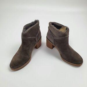 Womens UGG Kasan Ankle Boots Brown Block Heel Size UK 7.5 EU 40 BNIB