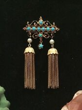 VINTAGE ART DECO 14K GOLD BROOCH by BINDER BROS New York-TURQUOISE-PEARLS-TASSEL
