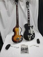 Rockband Wii Beatles Game Gretsch Guitar & Hofner Bass W/ Dongles And Microphone