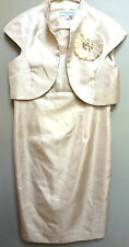 KM Collections by Milla Bell women's beige tan formal dress with jacket ivory