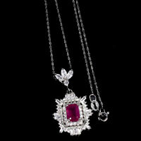 Octagon Red Ruby 8x6mm Cz 14K White Gold Plate 925 Sterling Silver Necklace 18in