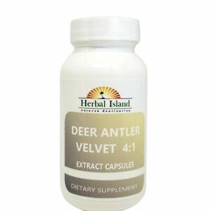100 Deer Antler Velvet Extract 4:1 Powder Capsules 500mg (Cervi Cornu)Free Ship