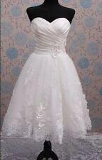 New white/ivory Short Tea Length Bridal wedding dress custom all size 2--28