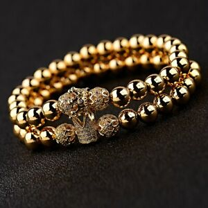 Luxury Gold Plated Micro Pave CZ Crown Copper Beads Couples Men Women Bracelets