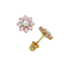 Flower Cluster Pink Sapphire Stud Earrings 14K Solid Yellow Gold Screw Back 6mm