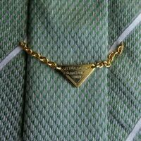 Green Striped PANCALDI Gold Chain Self Tipped Silk Tie