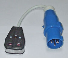Hook Up adaptor lead Boat Caravan Motorhome blue 16A plug to 13A socket  PO107B