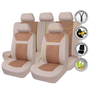 Jacquard Car Seat Covers Universal Set Beige Split 60/40 50/50 Airbag Compatible
