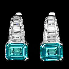 Sterling Silver 925 Genuine Paraiba Blue Topaz & Lab Diamond Designer Earrings
