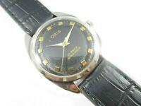 Vintage 17 Jewels Hand-Winding Black Dial Swiss Men's Wrist Watch #OR 4