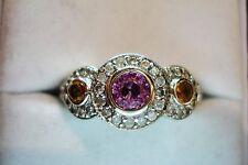 UNUSUAL 1 CT PINK SAPPHIRE & WHITE DIAMOND HALO COCKTAIL RING 14K WG SZ  10.25