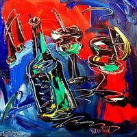 FRENCH WINE Abstract Contemporary Original Oil Painting Canvas Signed RT