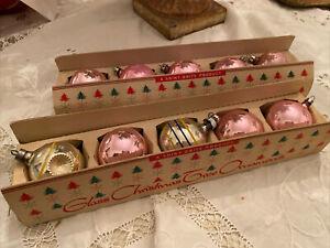 "2 Boxes Vintage Shiny Brite Pink Glass Ornaments Original Box 2"" indent Plus"