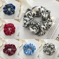 Womens Printed Elastic Hair Rope Ring Tie Scrunchie Ponytail Holder Hair Band