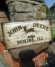 - JOHN DEERE Moline ILL. - Official LARGE Metal Wall Sign - 19.75 inches wide