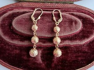 A Fabulous Pair Of Dangly Earrings In 9ct Rose Gold