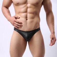 Hombre Sexy Piel Sintética Ropa Interior y-front Bolsa bóxer tanga negro