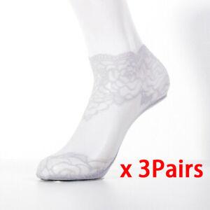 3 Pairs Summer Sexy Women Lace Sheer Silk Short Mesh Socks Non-slip Ankle Socks